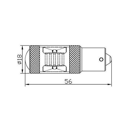 LED лампа гальмування/заднього ходу UP-7G-1156FWB-30W(BA15S) (біла, 12-24 В) Прев'ю 1